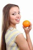 Beautiful girl with orange, isolated on white