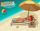 Seaside Vacation Advertisement for Summer Holidays - Cartoon ad with a cute redhead sunbathing on a