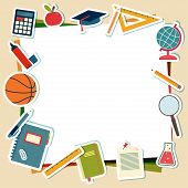 Vector illustration of school supplies and tools with place for text