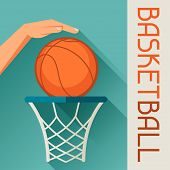 Sports illustration hand shot basketball ball through hoop.