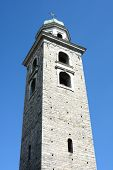 LUGANO, SWITZERLAND - JULY 6, 2014: Bell Tower of The Cathedral of Saint Lawrence. The tower is in t