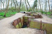 World War One Trenches On Hill In Flanders Fields Belgium
