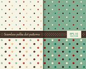 Abstract colorful polka dot repeating pattern on two different background colors that will tile seam