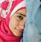 Portrait of beautiful Arabic girl posing