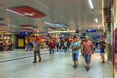 Dusseldorf, Germany, on July 12, 2014. City railway station (Dusseldorf Hauptbahnhof). Passengers.