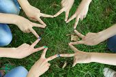 Many hands in group on grass background