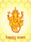 pic of onam festival  - Warm Ganesha postcard for Indian Onam holiday - JPG