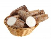 stock photo of cassava  - chopped and whole cassava in bamboo basket isolate on white - JPG