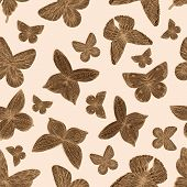 Seamless Pattern With Butterflies In Lines