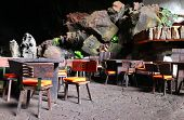 Restaurant in volcano cave, Lanzarote, Canary Island, Spain