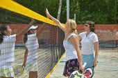 MOSCOW, RUSSIA - JULY 17, 2014: Woman teams Belarus and China after the match during ITF Beach Tenni