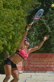 MOSCOW, RUSSIA - JULY 16, 2014: Patricia Diaz of Venezuela on the training before the ITF Beach Tenn
