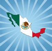 Mexico map flag on blue sunburst illustration
