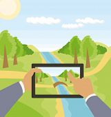 outdoors cartoon landscape with river and hands with touch pad