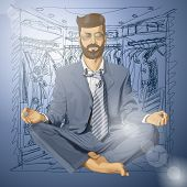 Sale concept. hipster businessman in lotus pose meditating