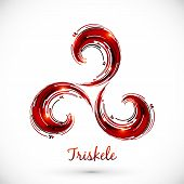 image of triskele  - Red abstract vector celtic triskele shining symbol - JPG