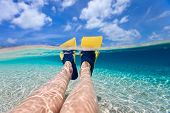 picture of leg-split  - Split above and underwater photo of woman legs with fins at shallow water on tropical beach - JPG
