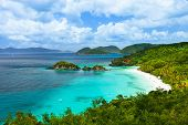 Aerial view of picturesque Trunk bay on St John island, US Virgin Islands considered by many as most