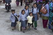 Five Poor Children In Panauti, Nepal