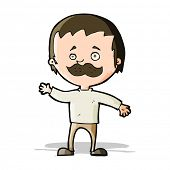 cartoon man with mustache waving