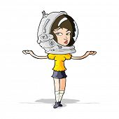 cartoon woman wearing space helmet