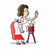 cartoon housewife washing up