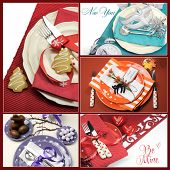 Multi Holiday Dining Table Place Settings Collage Of Five Colorful Images For Christmas, New Year, E