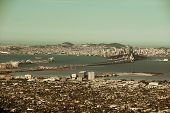 San Francisco downtown architecture viewed from mountain top.