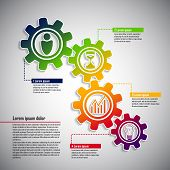 Business infographic with cogwheels and icons