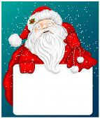 Santa Claus holds banner for text on blue snow background. Vector illustration