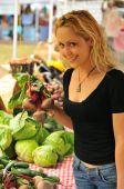 Girl Shopping At Farmer's Market