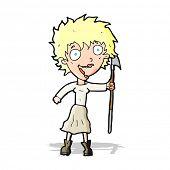 cartoon crazy woman with spear