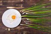 Egg , Chives, Plate, Knife And Fork