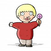 foto of obesity children  - cartoon fat child - JPG