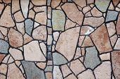 Colorful stone wall closeup