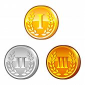 pic of roman numerals  - Set of medals with roman numerals and laurel wreath - JPG