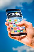 Futuristic Smart phone (phablet) with a transparent display in human hands. Concept actual future in
