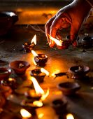 pic of diwali  - Burning candles in the Indian temple - JPG