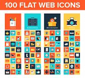 stock photo of promoter  - Vector collection of flat and colorful web icons on SEO business shopping and technology theme - JPG