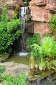waterfall in to a pool