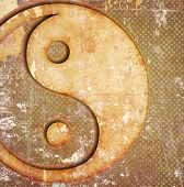 stock photo of yin  - Abstract grunge background with yin yang symbol and stains - JPG