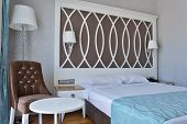 OLUDENIZ, TURKEY - MARCH 30, 2014: Interior of a bedroom with double bed in Ocean Blue High Class Ho