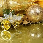 The christmas tree ornaments on the gold