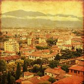 Aerial view of Pisa, Italy. Old style photo.