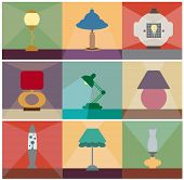 Reading lamps vector set