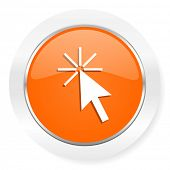 click here orange computer icon