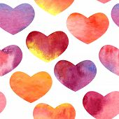 vector seamless watercolor pattern with hearts