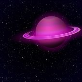 Cartoon Saturn in open space
