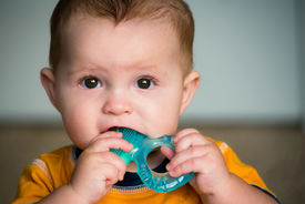 pic of teething baby  - Baby infant chewing on teething ring toy - JPG