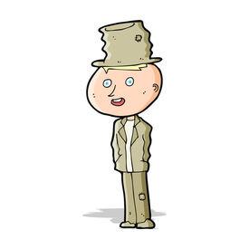 stock photo of hobo  - cartoon funny hobo man - JPG